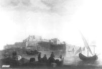 Mariano Sánchez: Vista del Castillo de Peñíscola. Depósito del Patrimonio Nacional en la Embajada de España en Lisboa. Desaparecido.