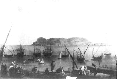 Mariano Sánchez: Vista de Gibraltar. Depósito del Patrimonio Nacional en la Embajada de España en Lisboa. Desaparecido.