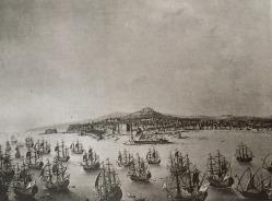 Antonio Joli: Embarque de Carlos III en la bahía de Nápoles. Depositado por R.O en la Embajada de España en Lisboa en 1919. Desaparecido.