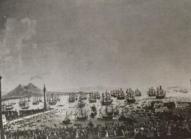 Antonio Joli: Embarque de Carlos III en Nápoles. Depositado por R.O en la Embajada de España en Lisboa en 1919. Desaparecido.