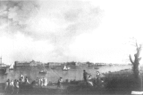 Mariano Sánchez: Vista del Puerto de Santa María. Depósito del Patrimonio Nacional en la Embajada de España en Lisboa. Desaparecido.