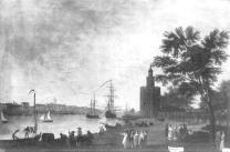 Mariano Sánchez: Vista de la Torre del Oro en Sevilla. Depósito del Patrimonio Nacional en la Embajada de España en Lisboa. Desaparecido.