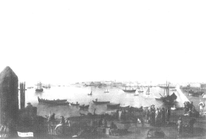 Mariano Sánchez: Vista de Cádiz. Depósito del Patrimonio Nacional en la Embajada de España en Lisboa. Desaparecido.