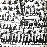 Pedro de Teixeira: Topografía de Madrid (detalle) Ermita de San Pablo.