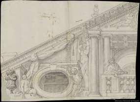 Anónimo s. XVIII: Decoración del frontón de la ermita de San Pablo en el Retiro. Biblioteca Nacional