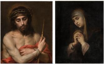 Ecce Homo de Murillo y Dolorosa (copia del s. XIX en Museo del Prado).