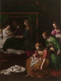 Alessandro Turchi: Nacimiento de la Virgen. Madrid, Museo Nacional del Prado.