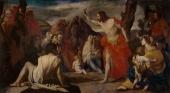 Massimo Stanzione. Predicación del Bautista en el desierto. Museo del Prado.