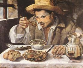 Annibale Carracci. Hombre comiendo judías 1580-1590, (Galería Colonna de Roma). (Foto: wikipedia)