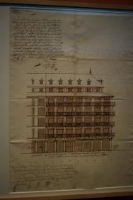 Juan Gómez de Mora (1586-1648). Casa del Mayorazgo de Luján en la calle Mayor, 1620. Alzado a la calle Mayor. Tinta y aguada marrón sobre papel verjurado. 566 x 415 mm. Madrid, Archivo de Villa, 1-163-21.