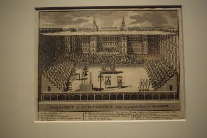 "Anónimo. ""Jugement De L'Inquisition dans la grande Place de MADRID"". Auto de Fe en la Plaza Mayor. 1632. Estampa. 176 x 225 mm. Museo de Historia de Madrid."