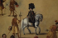 Detalle de Felipe IV en el cuadro de Juan de la Corte.