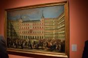 Lorenzo Quirós (1717-1789), atribuido. Ornato de la Plaza Mayor, con motivo de la proclamación en Madrid de Carlos III, el 11 de septiembre de 1759. Óleo sobre lienzo 1120 x 1640 mm. Museo de Historia de Madrid
