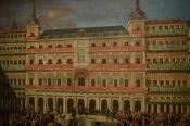 Detalle de la fachada de la Panadería en el cuadro de Lorenzo de Quirós.