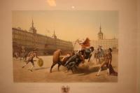 "Pharamond Blanchard (1805-1873) [D] y Leon Jean-Baptiste Sabatier (1827-1887) [G]. ""COURSES DE TAUREAUX / Chevalier tuant le Taureau d´un coup de lance. // (Madrid) - CORRIDAS DE TOROS / Cavallero Rejoneador"". Imprenta Litográfica de Cattier sucesor de Ch. Motte. París. Courses de Taureaux, de Blanchard, editada por Goupil, Vibert & Cie. París y New York, 1852. Estampa nº 5. Estampa iluminada sobre papel blanco avitelado. 364 x 530 mm. la litografía; 580 x 740 mm. el papel blanco avitelado. Madrid. Museo Romántico."