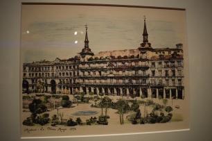 "Anónimo (a partir de Jean Laurent). ""Madrid. La Plaza Mayor. 1878"". Papel fotográfico. Iluminada. 500 x 600 mm. Museo de Historia de Madrid"
