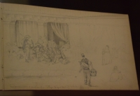 Vizconde Louis de Dax (1816-1872). Contratación de segadores en la Plaza Mayor. 1864. Lápiz sobre papel. Museo de Historia de Madrid.