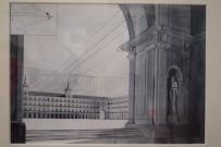 Vicente Moreno (fotógrafo, 1894-1954) y Andrés Crespí Jaume (pintor, ¿?-1951). La Plaza mayor, 1948. Reproducción a partir de placa de vidrio (fotografía de un dibujo enmarcado) IPCE, Archivo Moreno.