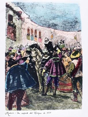 Juan Evaristo Casariego. Madrid, un aspecto del Corpus en 1623. S. XIX. Foto: memoria de Madrid.