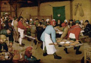 """Pieter Brueghel """"El viejo"""". La boda campesina (c. 1566 - 1569), Museo de Historia del Arte de Viena. (foto: wikipedia)"""