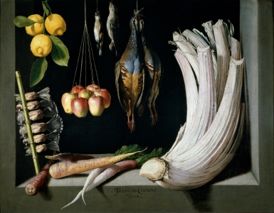 Juan Sánchez Cotán: Bodegón de caza, hortalizas y frutas. 1602. Madrid, Museo Nacional del Prado.