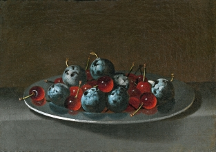 Juan van der Hamen y León: Plato con ciruelas y guindas. ca. 1631. Madrid. Museo del Prado.