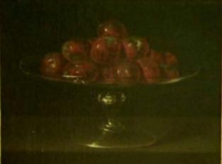 Anónimo o Blas de Prado?: Bodegón de peras en frutero de cristal. Principios del s. XVII. Colección Santamarca.