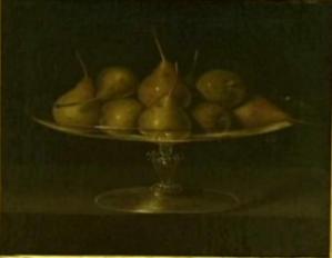 Anónimo o Blas de Prado?: Bodegón de peras en frutero de cristal. Principios del s. XVII. Colección Santamarca. Foto: Carmen Madruga (SlideShare)