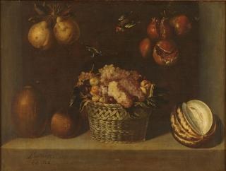 Alejandro de Loarte: Bodegón con cesta de uvas y otras frutas, 1624. Madrid, Museo Nacinoal del Prado.