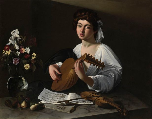 Caravaggio: Muchacho tocando el laud, 1595. San Petersburgo, Museo del Hermitage.