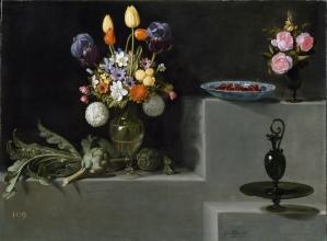 Juan van der Hamen y León: Bodegón con alcachofas, flores y recipiente. ca. 1627. Madrid. Museo del Prado.