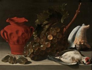 Juan de Espinosa: Bodegón con pájaro muerto, 1651. Óleo sobre tabla, 23 x 30 cm. Madrid, Museo Nacional del Prado.