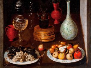Anónimo español: Frutero con platos de uvas y peras, vidrios y búcaros, ca. 1625. Óleo sobre lienzo, 70 × 83 cm. Madrid, Fundación Banco Santander.