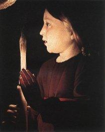 George de la Tour: Detalle del San José carpintero con el niño