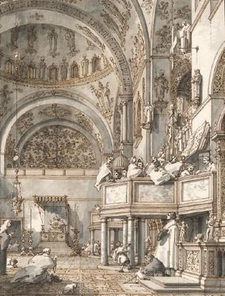 Giovanni Antonio Canal: celebración de la Misa de Pascua en San Marco, 1766. Hamburgo, Kunsthalle.