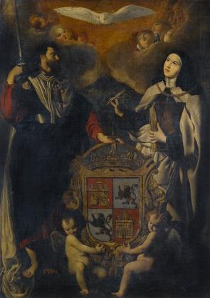 Anónimo madrileño, Juan Bautista Maíno??: Santiago el Mayor y Santa Teresa de Jesús con el escudo de Castilla y León. Vendido en Sotheby's Londres.