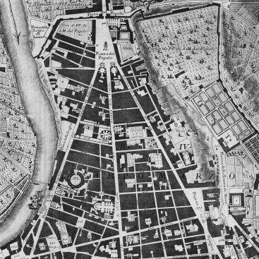 Nolli. Plano de la ciudad de Roma. Detalle del tridente de la Piazza del Popolo. 1756.