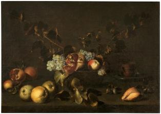 Juan de Zurbarán. Bodegón con granada y uvas. ca 1643. Museo del Prado.