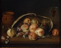 Pedro de Camprobín. Cesto con melocotones y ciruelas. 1654. Museo del prado.