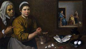 Diego Velázquez. Cristo en casa de Marta y María. 1618. National Gallery de Londres.