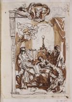 Carlo Maratta: Estudio compositivo de los cuatro evangelistas ante la Sagrada Forma. RABASF, nº inv. D-0541.