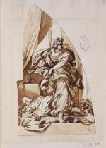 Carlo Maratta: Estudio para Jael y Sísara. RABASF, nº inv. D-0610.