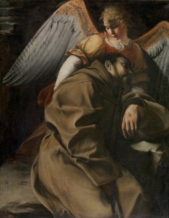 Orazio Gentileschi: San Francisco sostenidos por un ángel. Madrid, Museo Nacional del Prado.